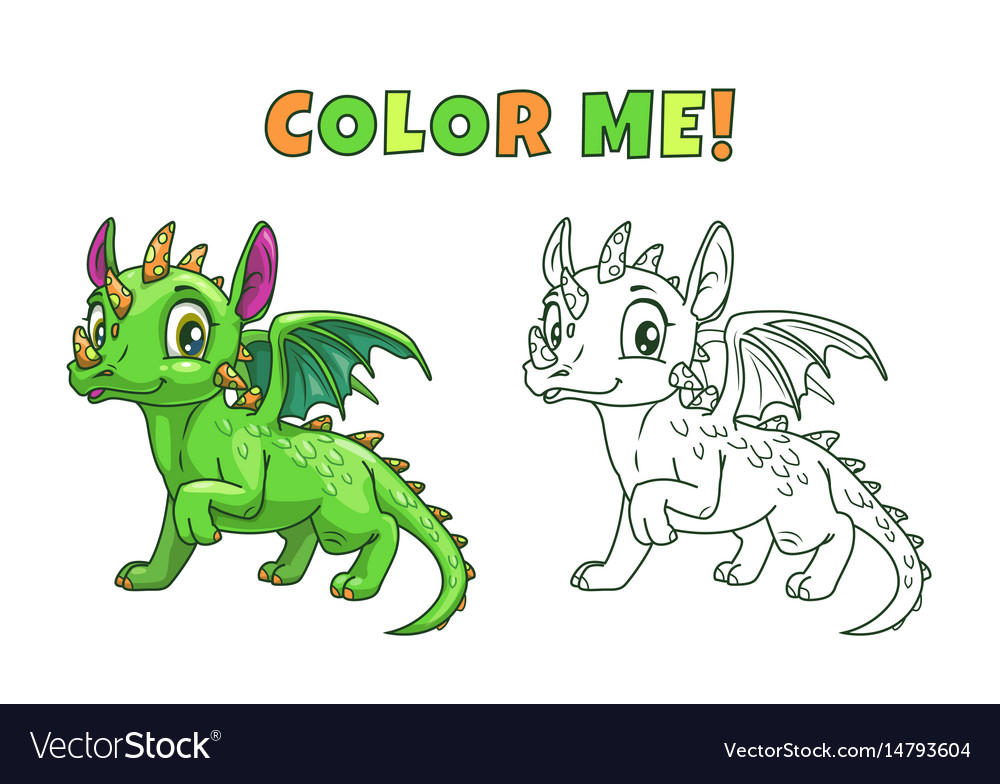 Cute cartoon green dragon vector image