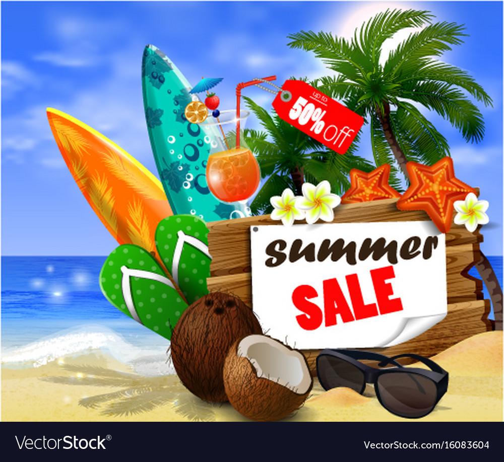 Summer sale banner online shopping vector image