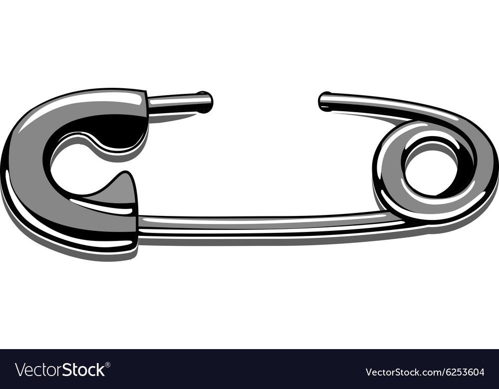 Tattoo safety pin stencil vector image