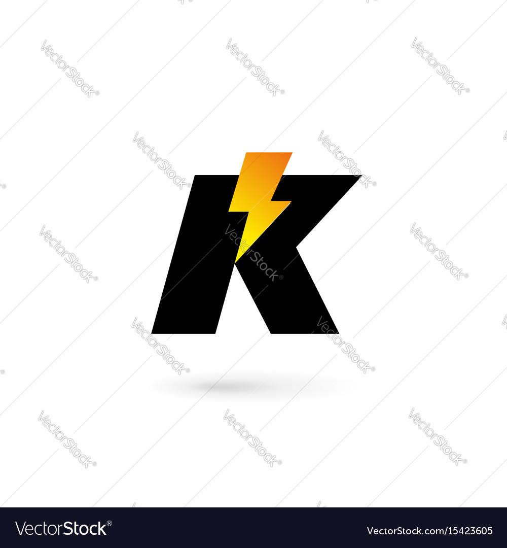 Letter K Lightning Logo Icon Design Template Vector Image