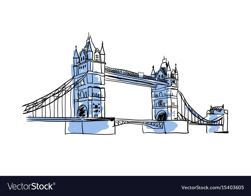 London bridge hand drawn isolated icon vector image
