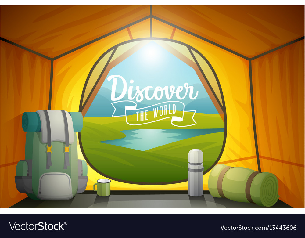 Discover the world poster view from inside a tent vector image & Discover the world poster view from inside a tent Vector Image