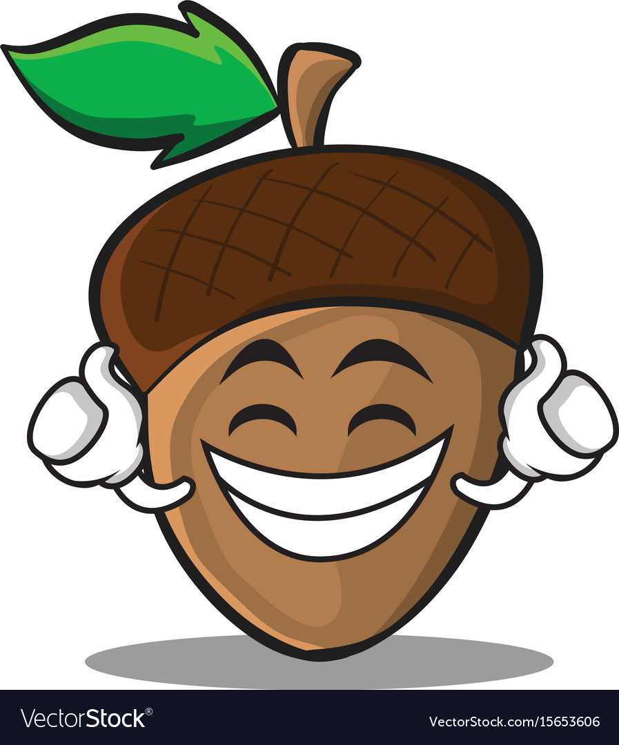 Proud acorn cartoon character style vector image