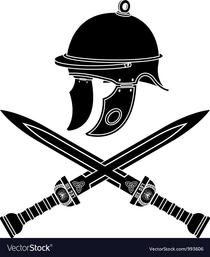 roman helmet and swords first variant royalty free vector