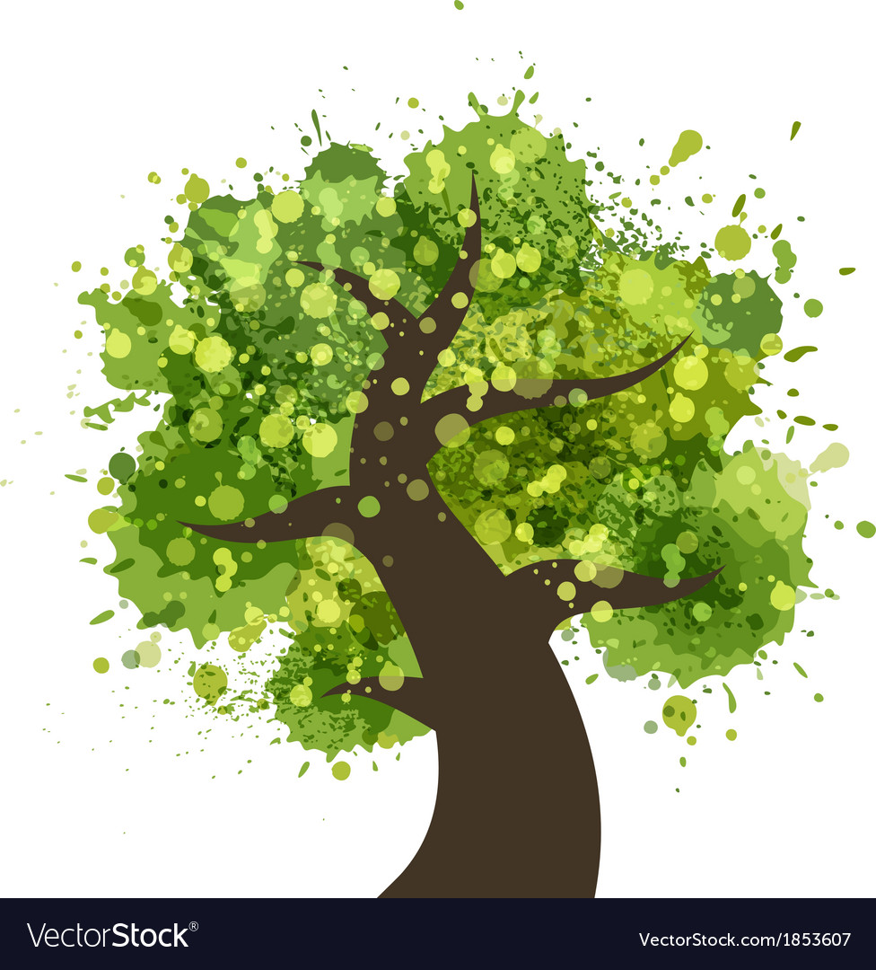 Grunge colorful tree Royalty Free Vector Image