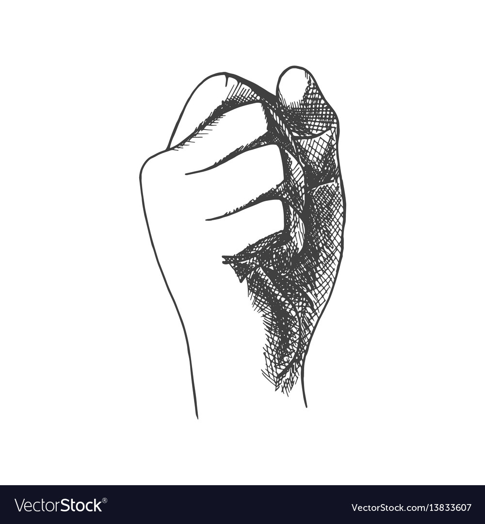 Hand drawn fist vector image
