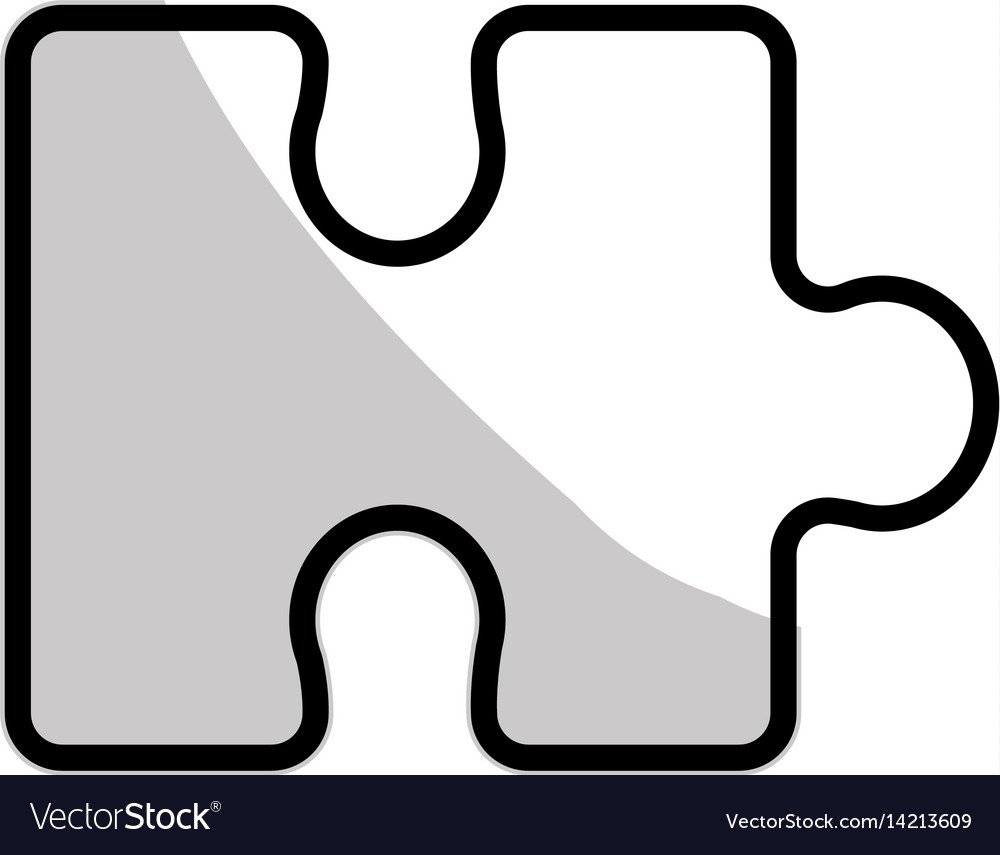 Figure piece puzzle mental game vector image