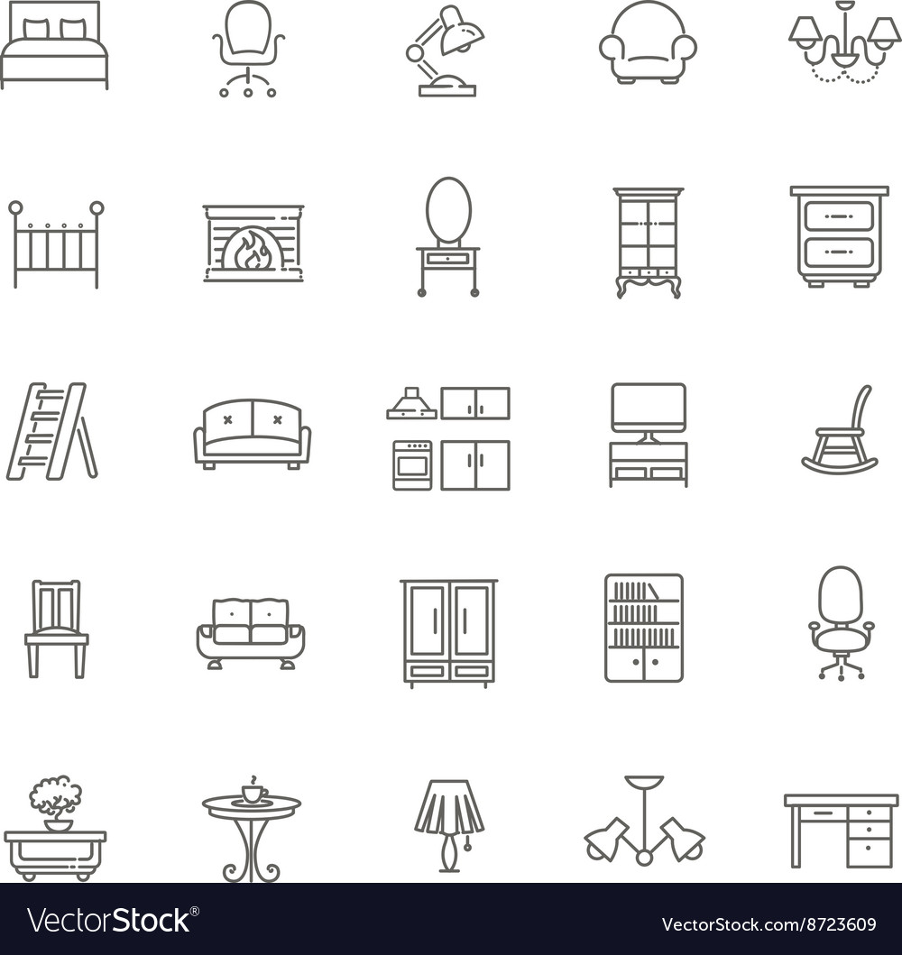Furniture And Home Decor Icon Set Royalty Free Vector Image
