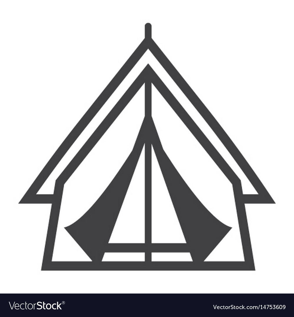 Tourist tent line icon travel and tourism vector image