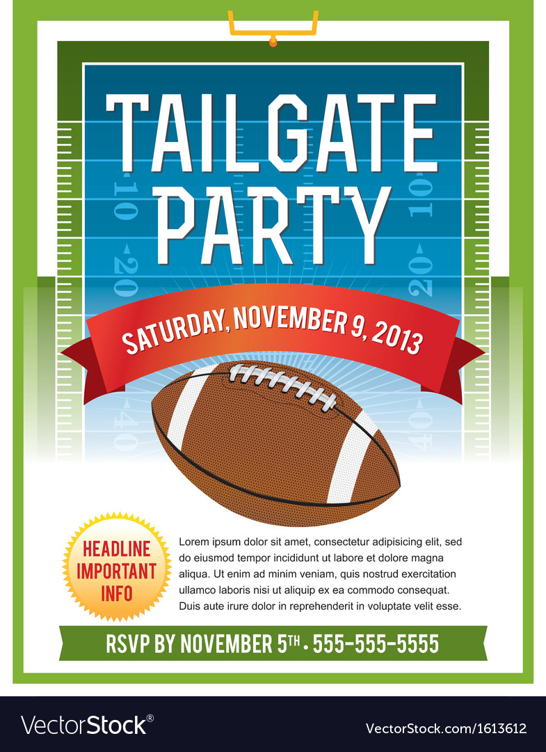 american football tailgate party flyer royalty free vector. Black Bedroom Furniture Sets. Home Design Ideas