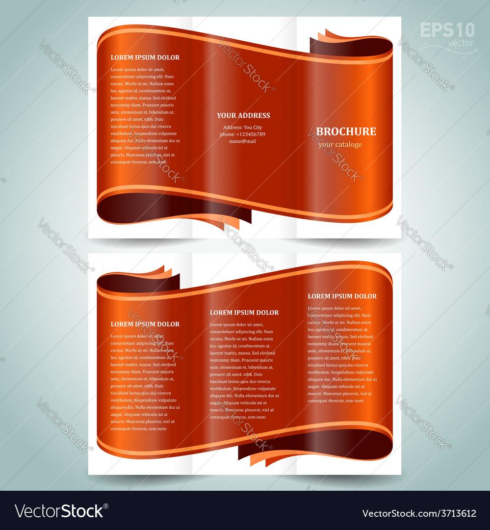 Ribbon brochure design template vector image