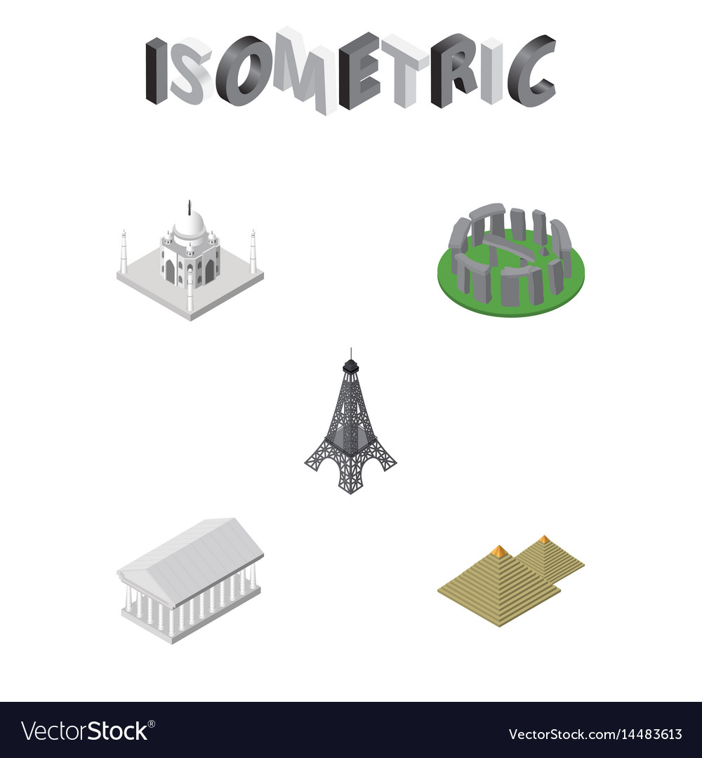 Isometric architecture set of athens england vector image