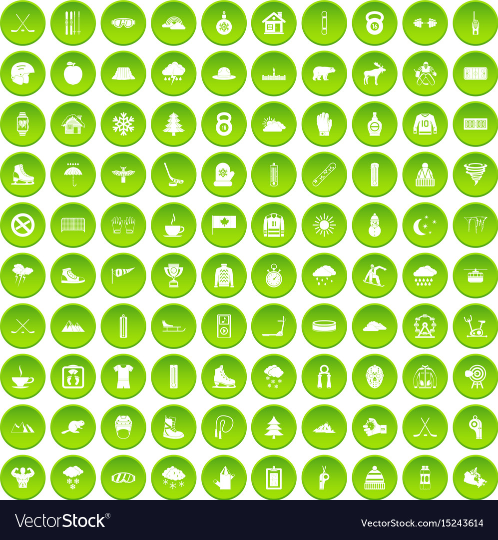 100 winter holidays icons set green circle vector image