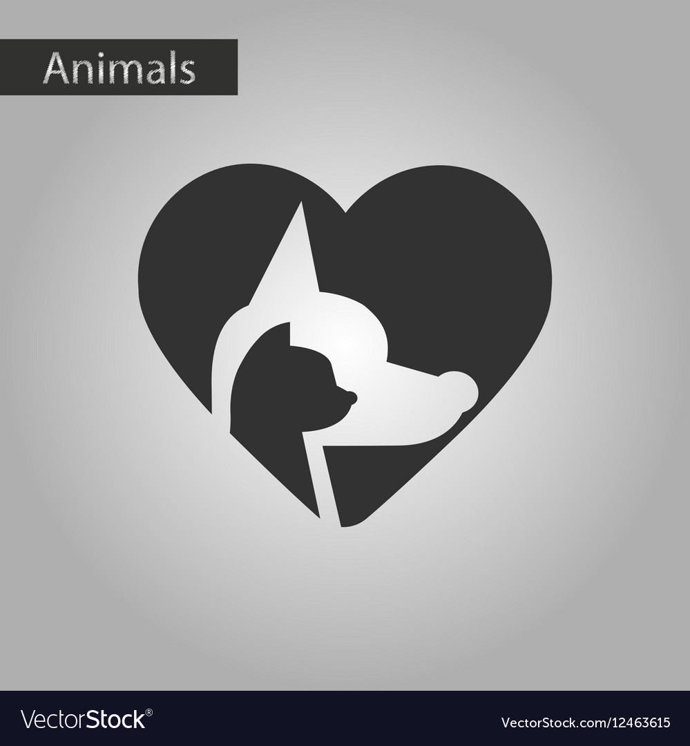 Black and white style icon cat dog heart vector image
