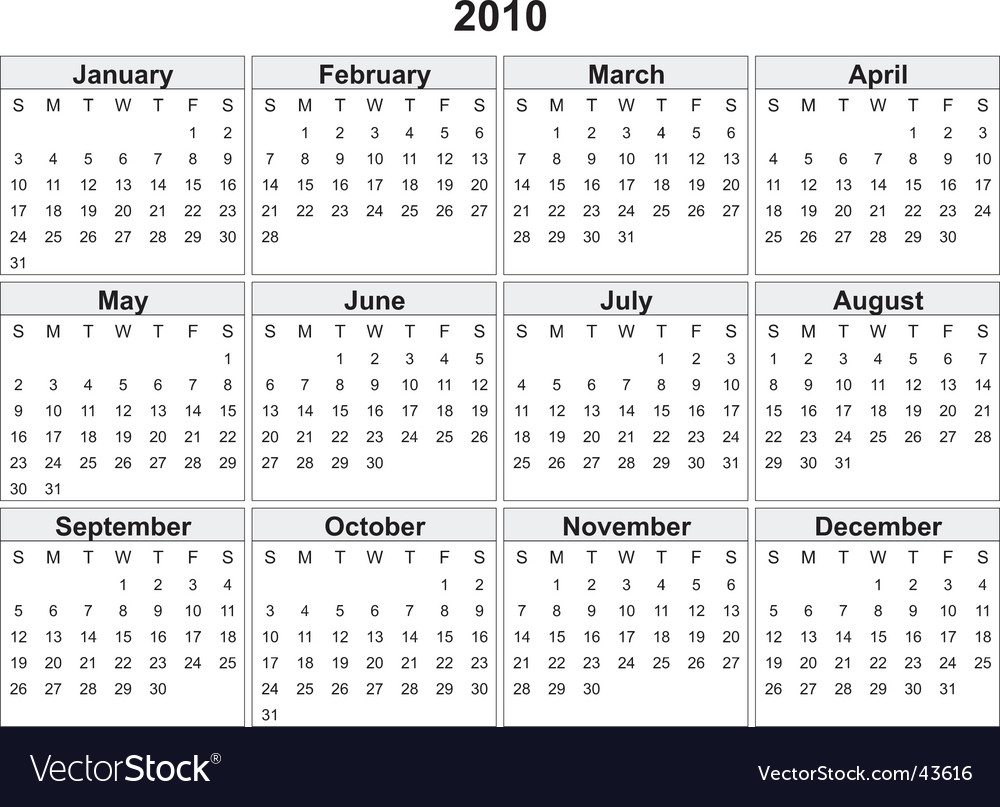 Year Calendar Vector : Calendar of year royalty free vector image