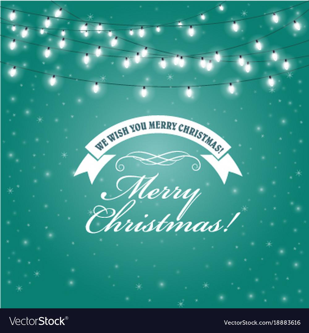 Christmas lights frame - festive lights garlands vector image