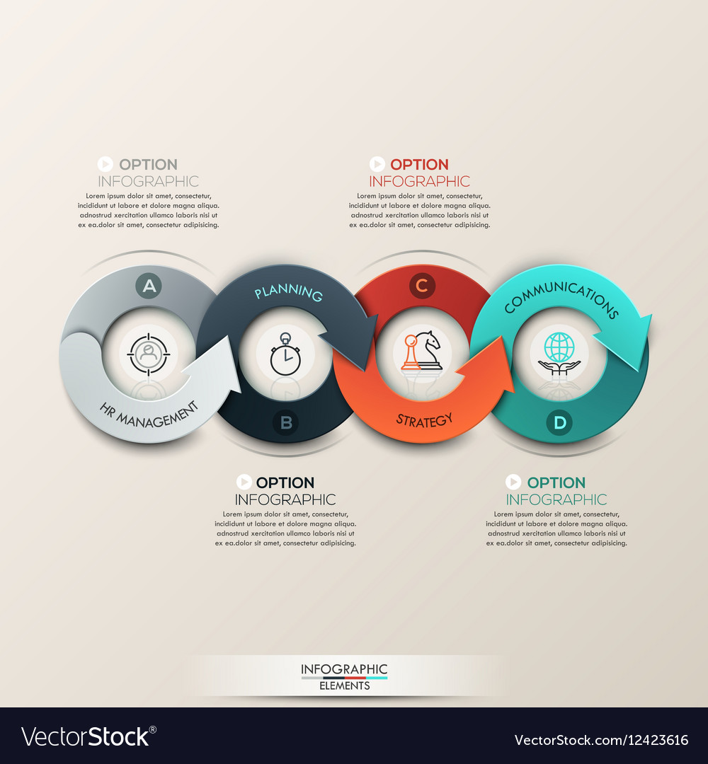 Modern infographics options banner with 4-part vector image