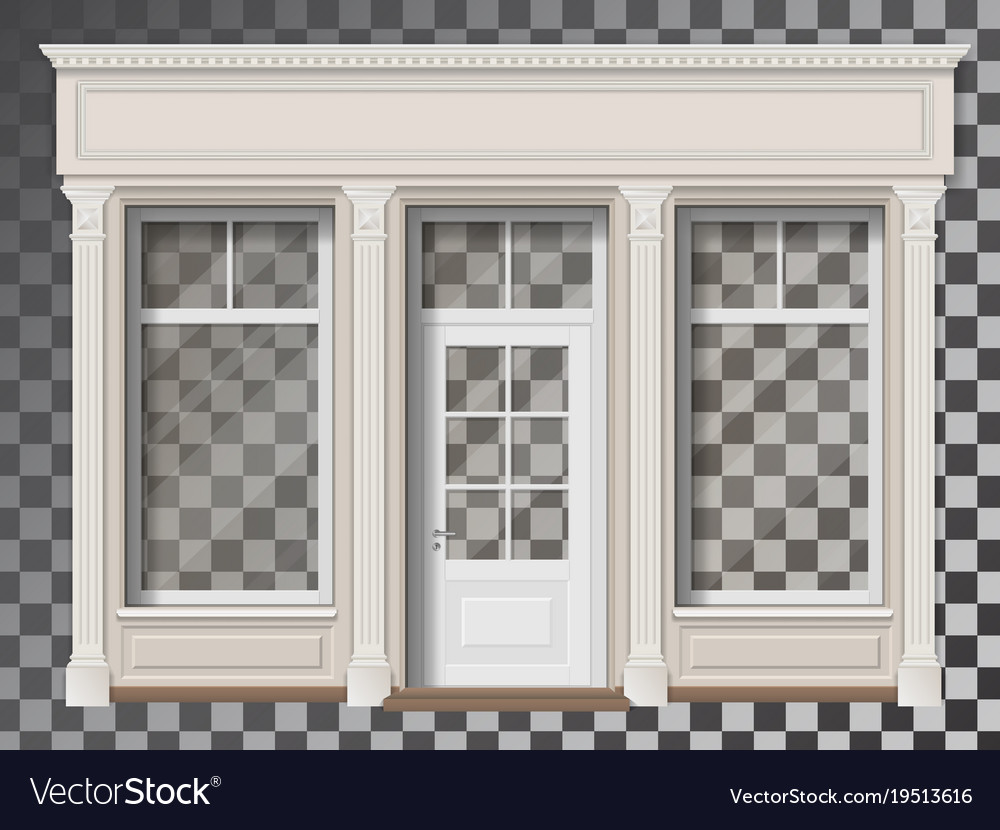 Shop front with column transparent window vector image