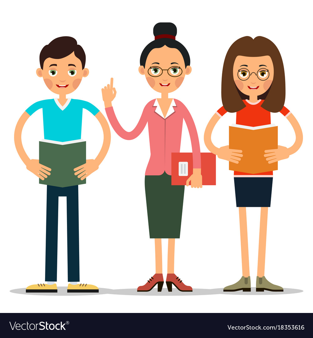 Students boy and girl reads a book or an summary vector image