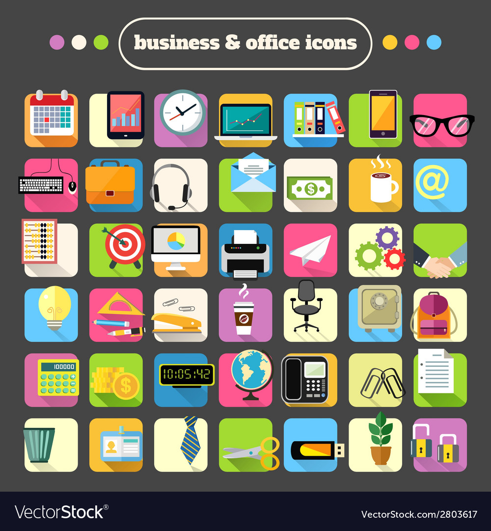 Business Stationery Supplies Icons Set vector image