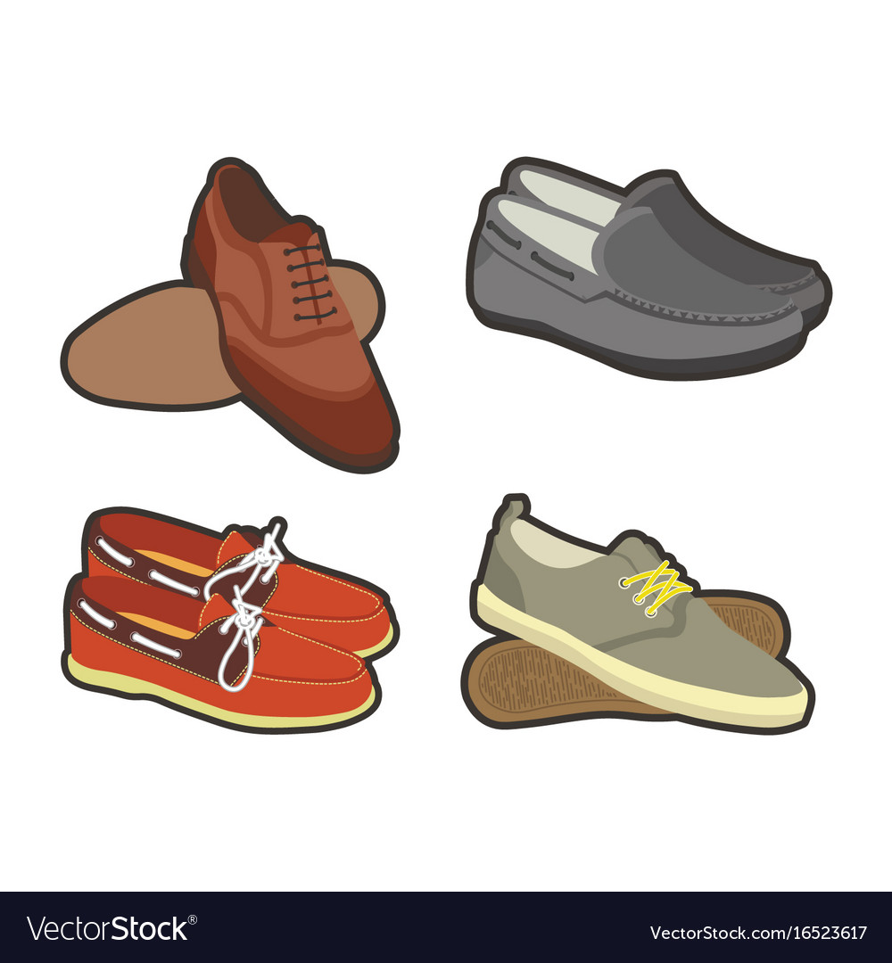 Mens shoes in sport and classical styles set vector image