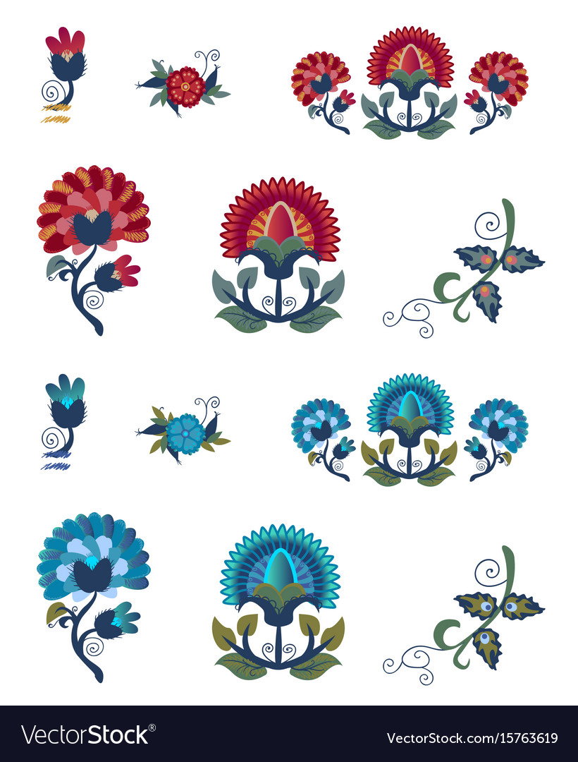 Abstract floral elements gradient bright flower vector image