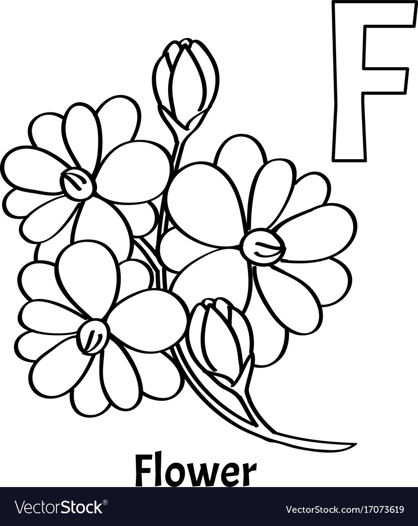 Alphabet letter f coloring page flower Royalty Free Vector