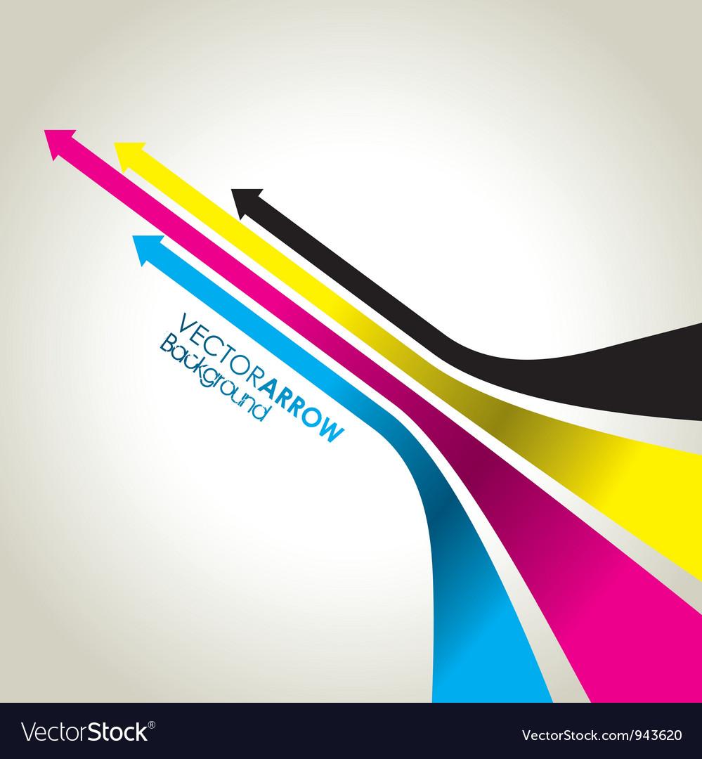 Cmyk colour arrow strips vector image