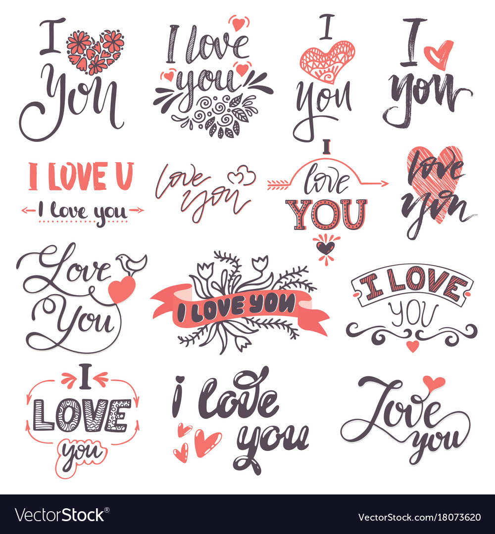 I love you text logo phrases valentine day or vector image