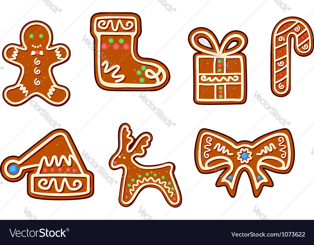 Gingerbread christmas holiday objects set vector image