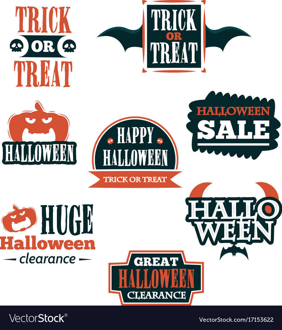 Halloween badge and label sticker collection vector image