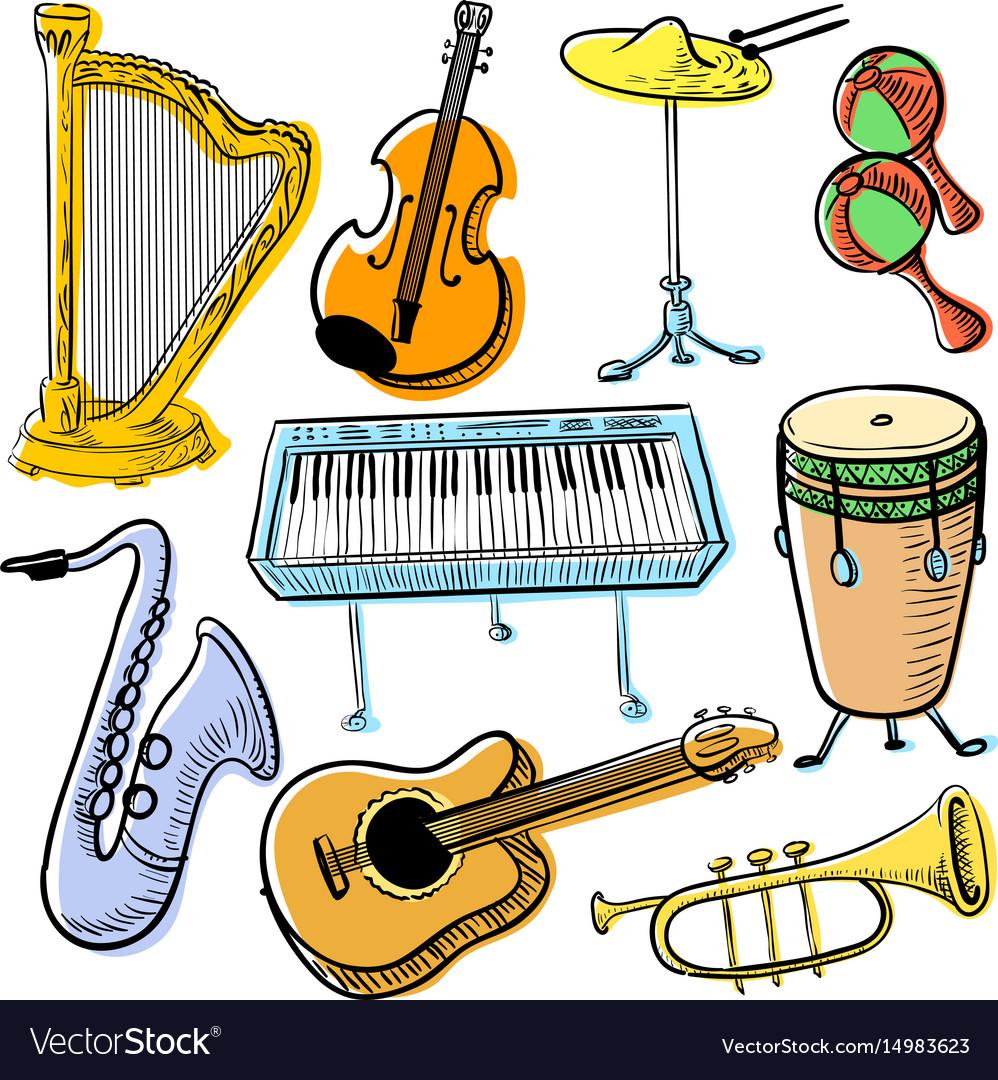 Musical instruments doodle set cute line art vector image