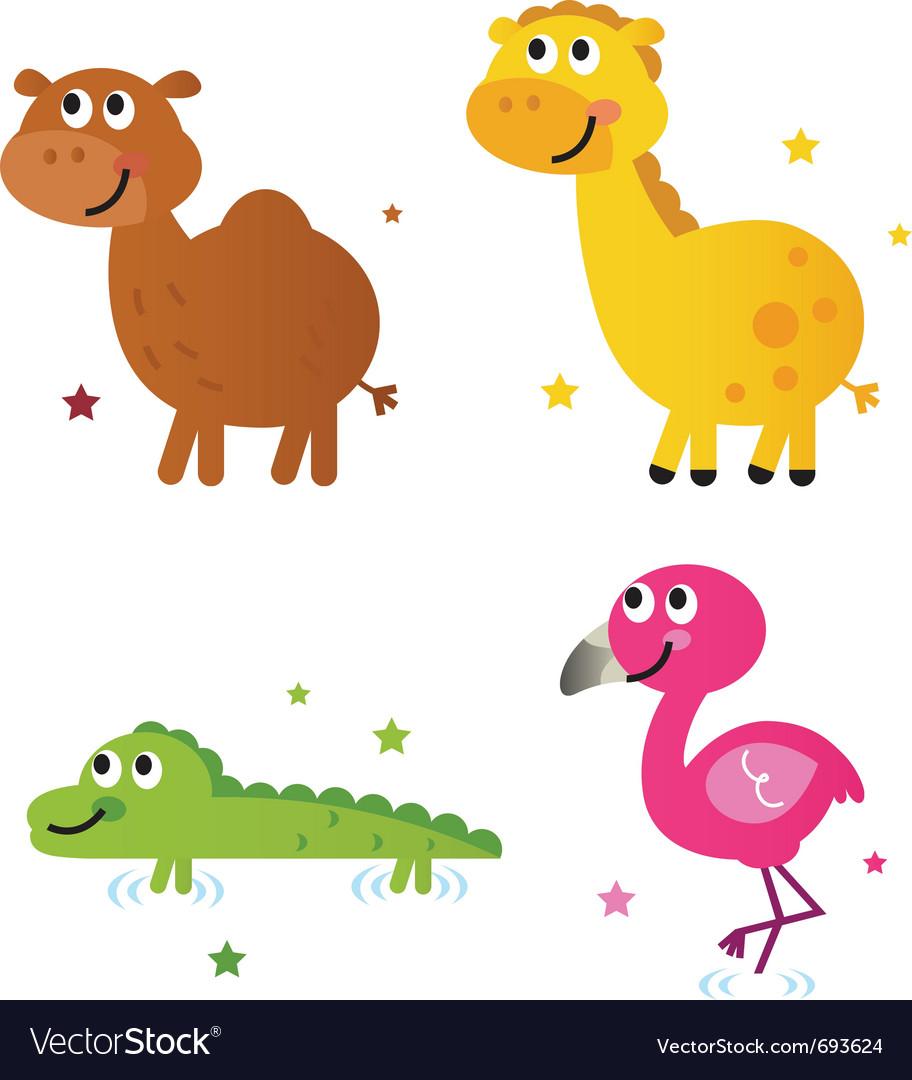 Cute safari africa animals vector image