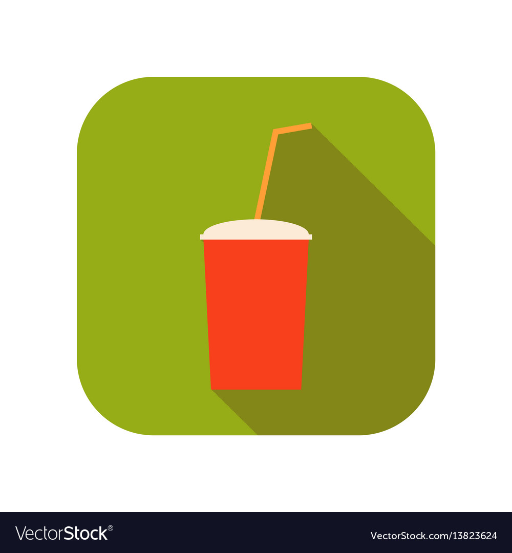 Sweet drink soda in a plastic cup with a drinking vector image