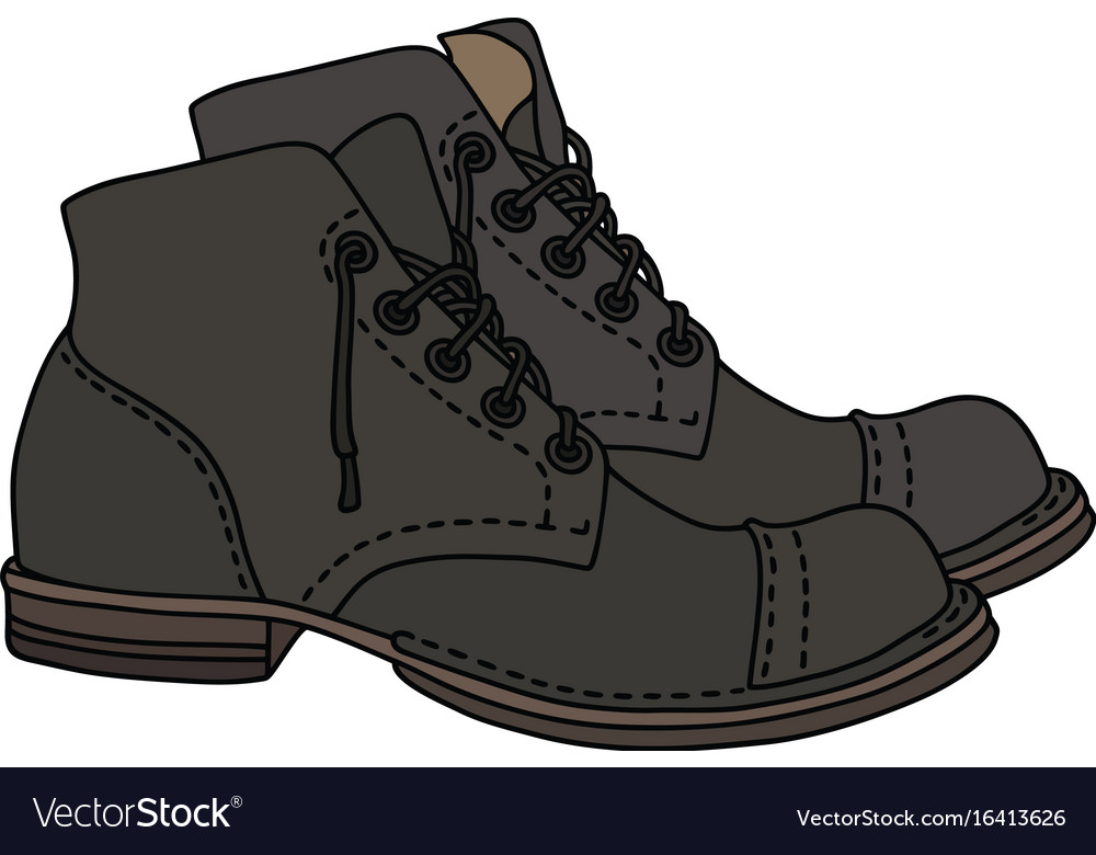 Old dark leather shoes vector image