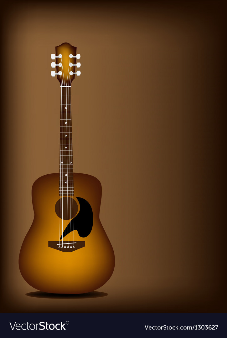 Beautiful Acoustic Guitar on Dark Brown Background vector image