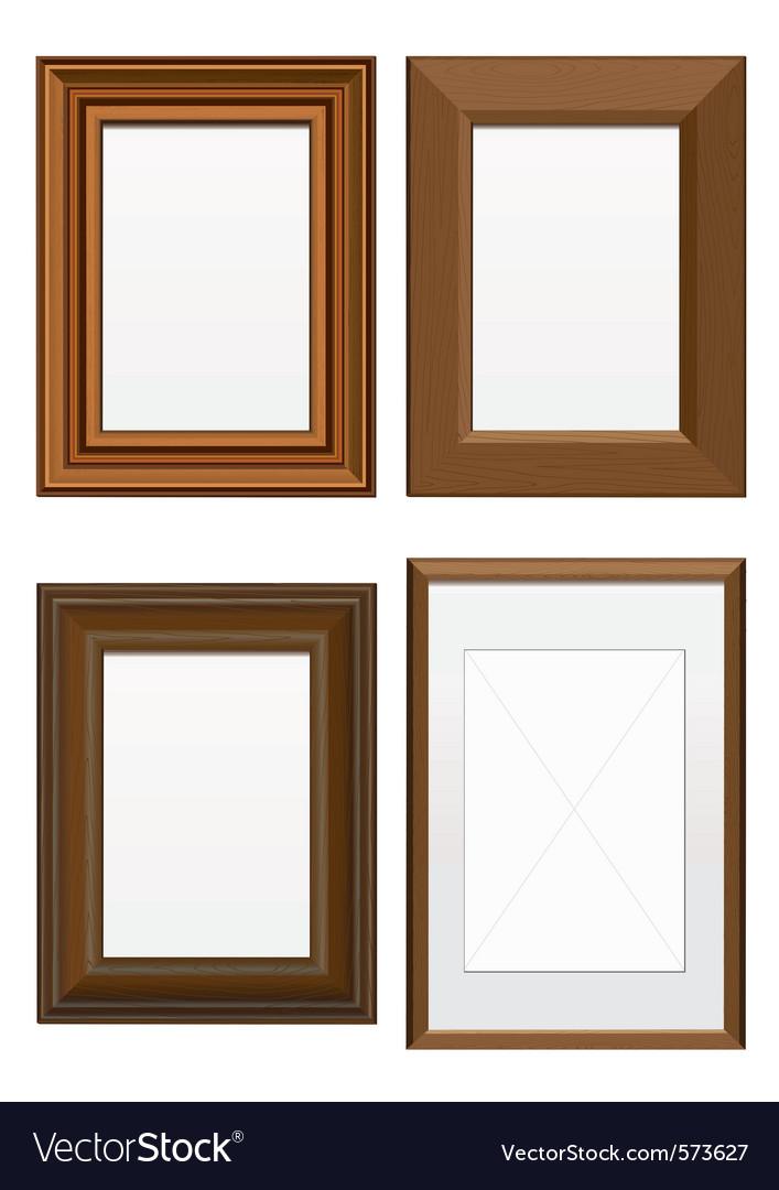 set of wooden frames vector image - Wooden Photo Frames