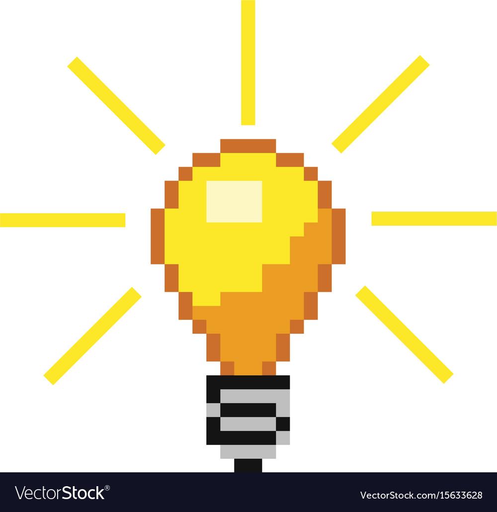 Pixel light bulb vector image