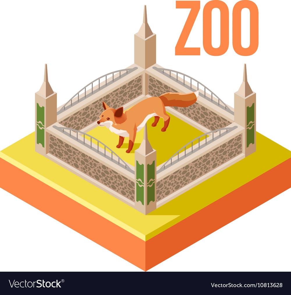 Zoo Fox isometric icon vector image
