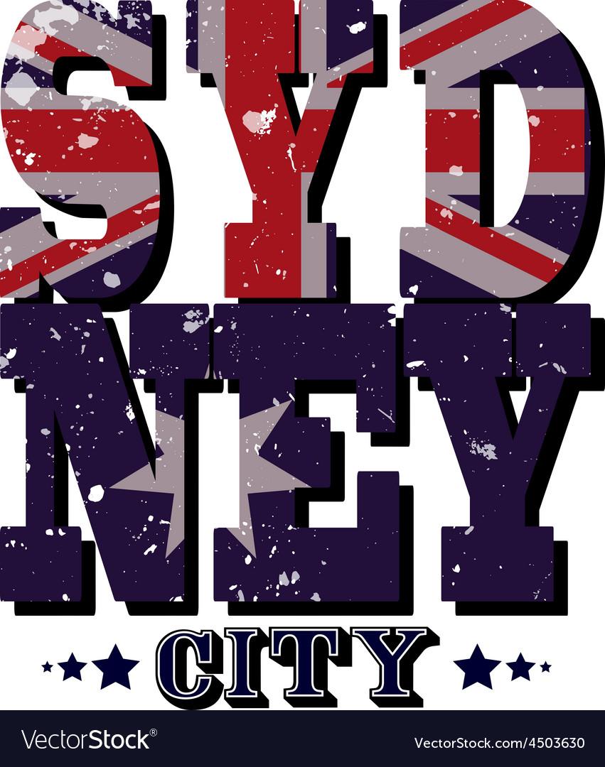Sydney City T-shirt Typography vector image