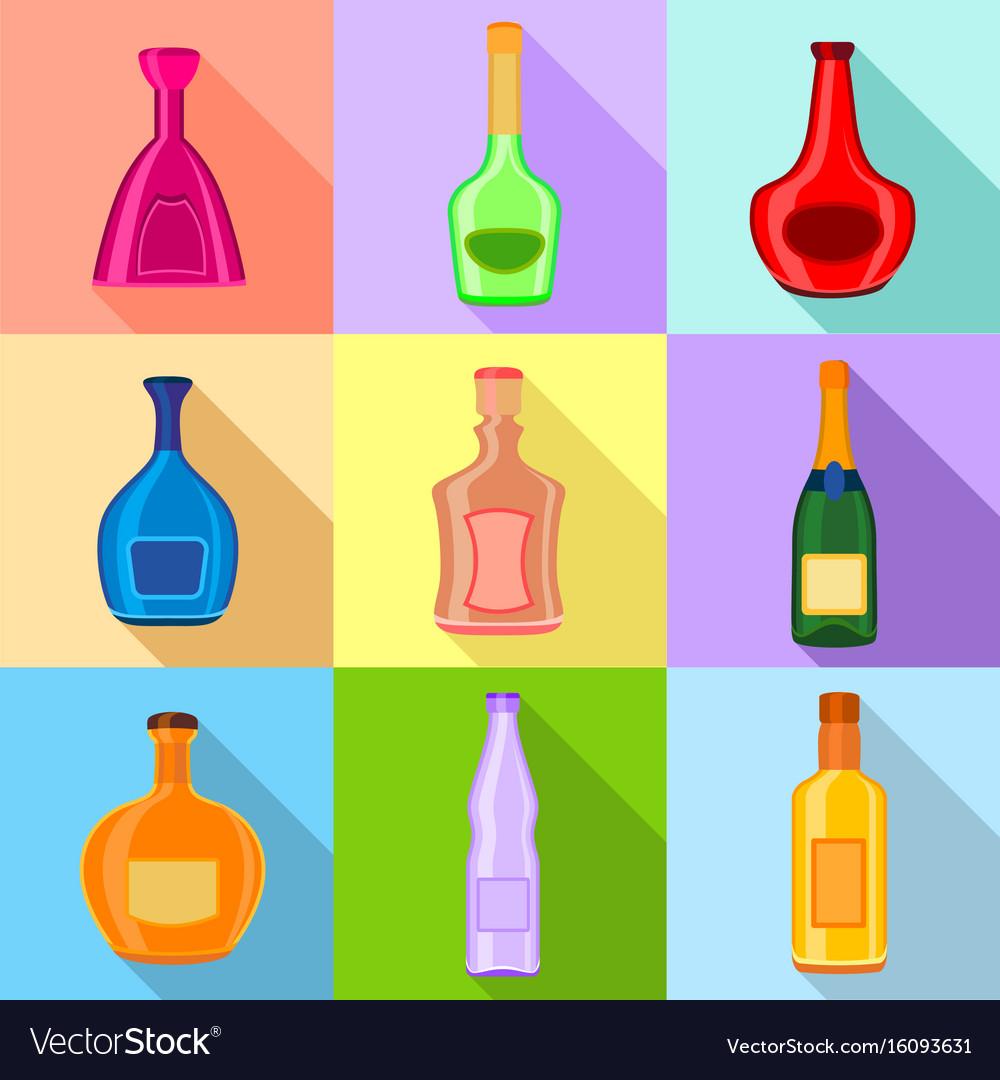 Alcohol bottles icons set flat style vector image