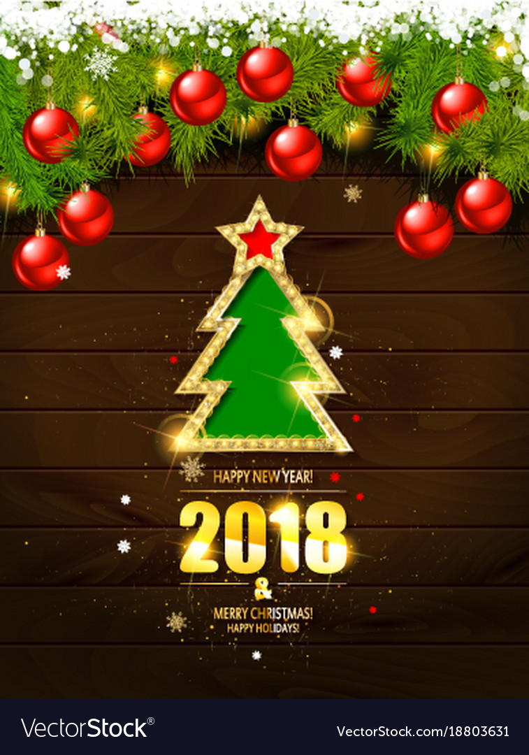 Retro Merry Christmas Poster Template Vector Image  Christmas Poster Template