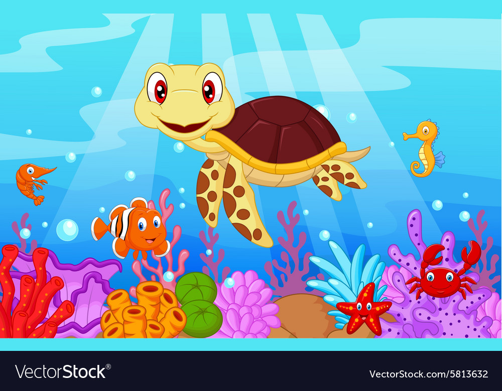 Cute baby turtle cartoon with collection fish vector image