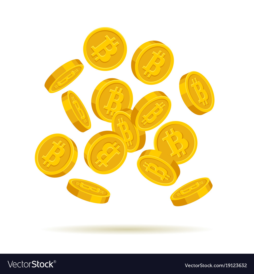 Golden bitcoin coins on white background vector image