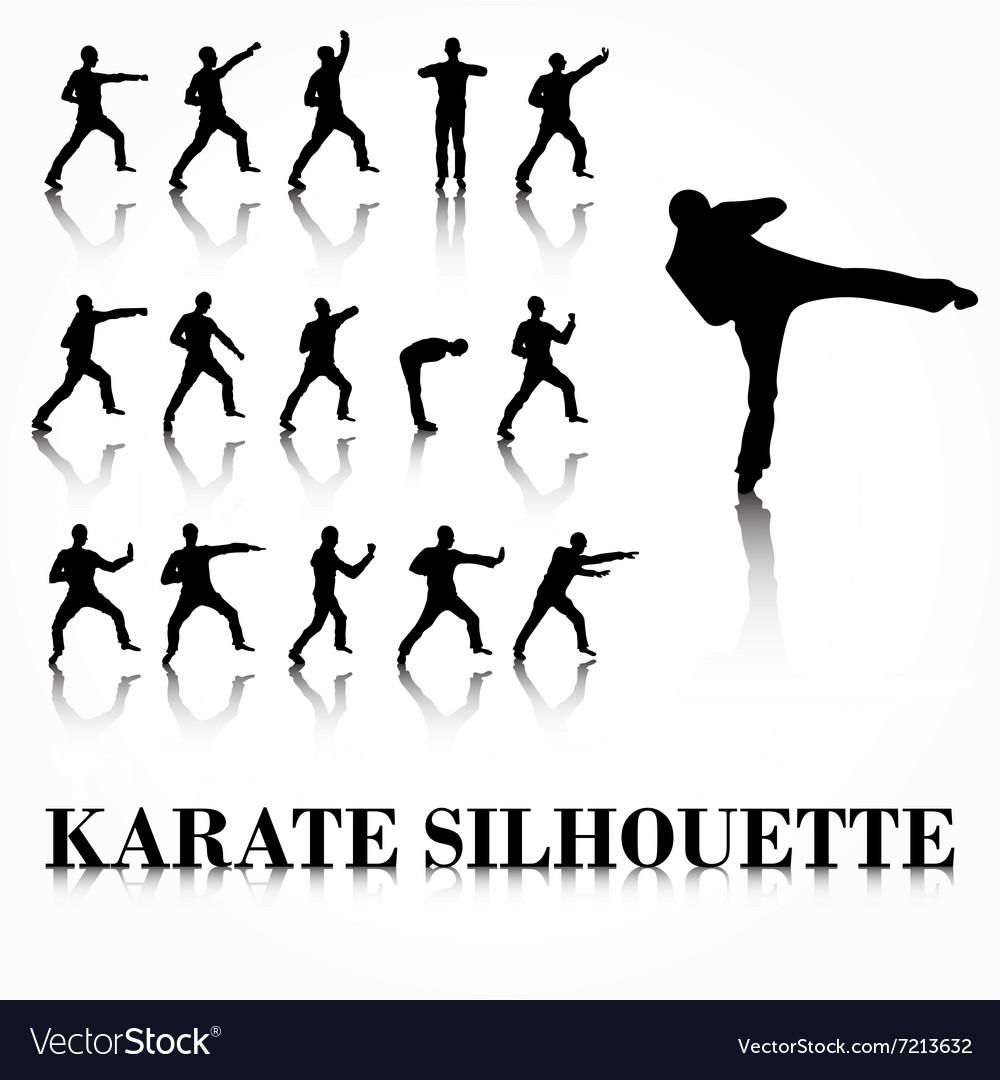 Karate silhouette move set vector image