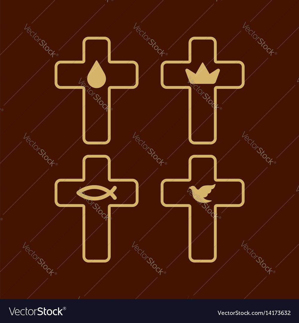 Set of christian logos vector image