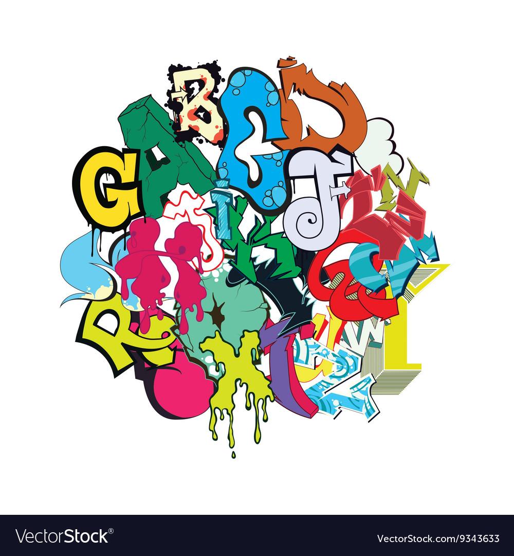 Graffiti font color composition vector image
