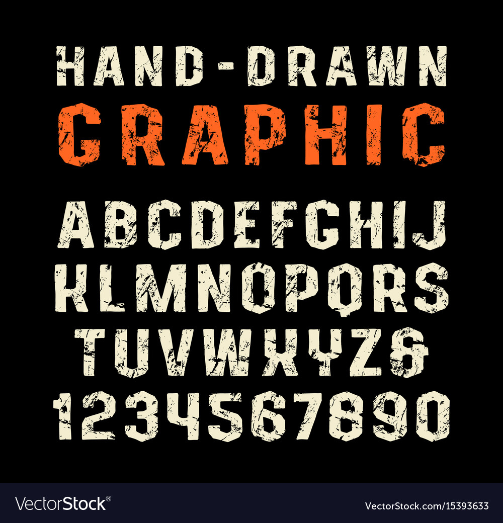 Sanserif font in the style of handmade graphics vector image