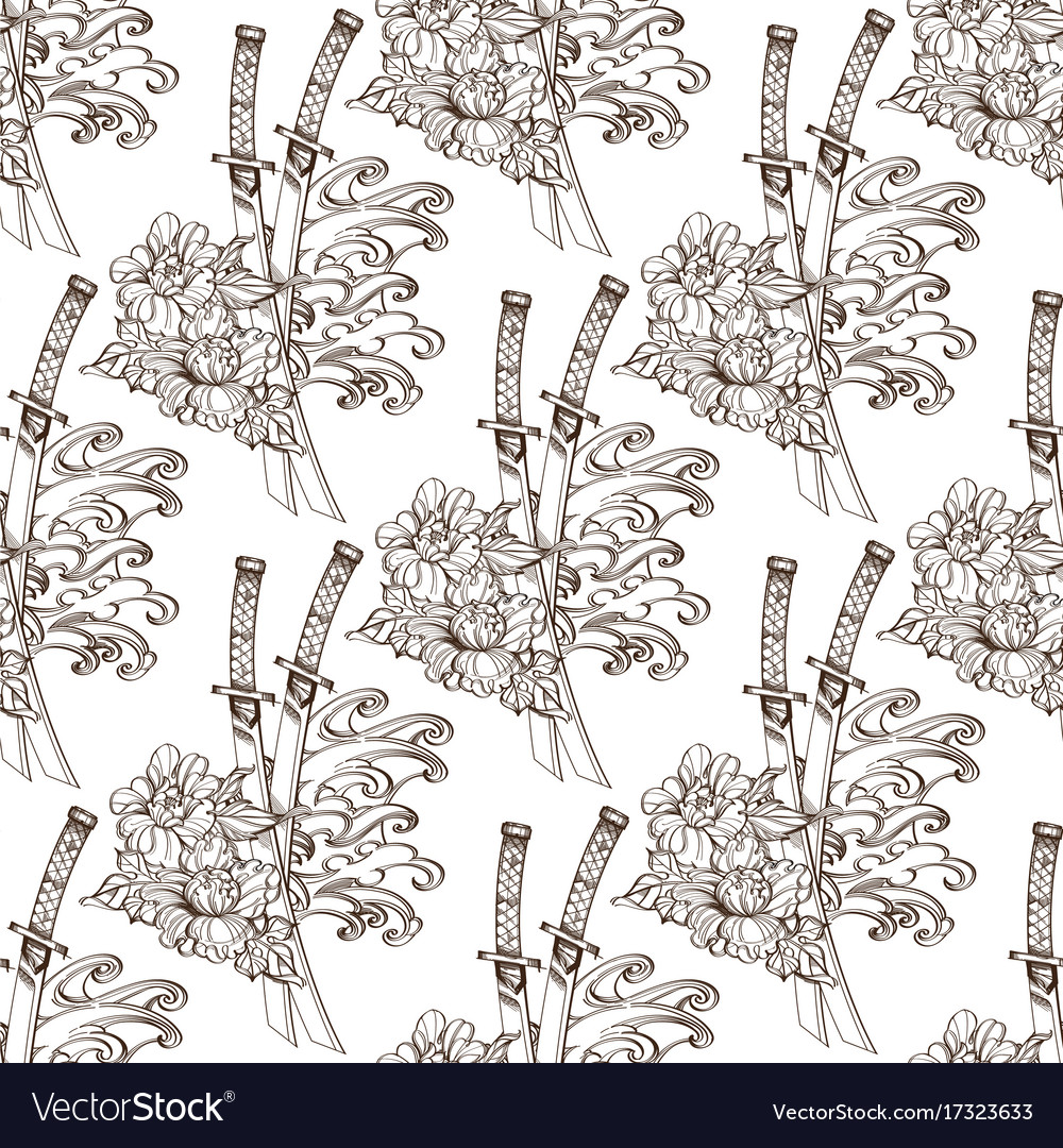 Seamless pattern from contour drawings of katans vector image