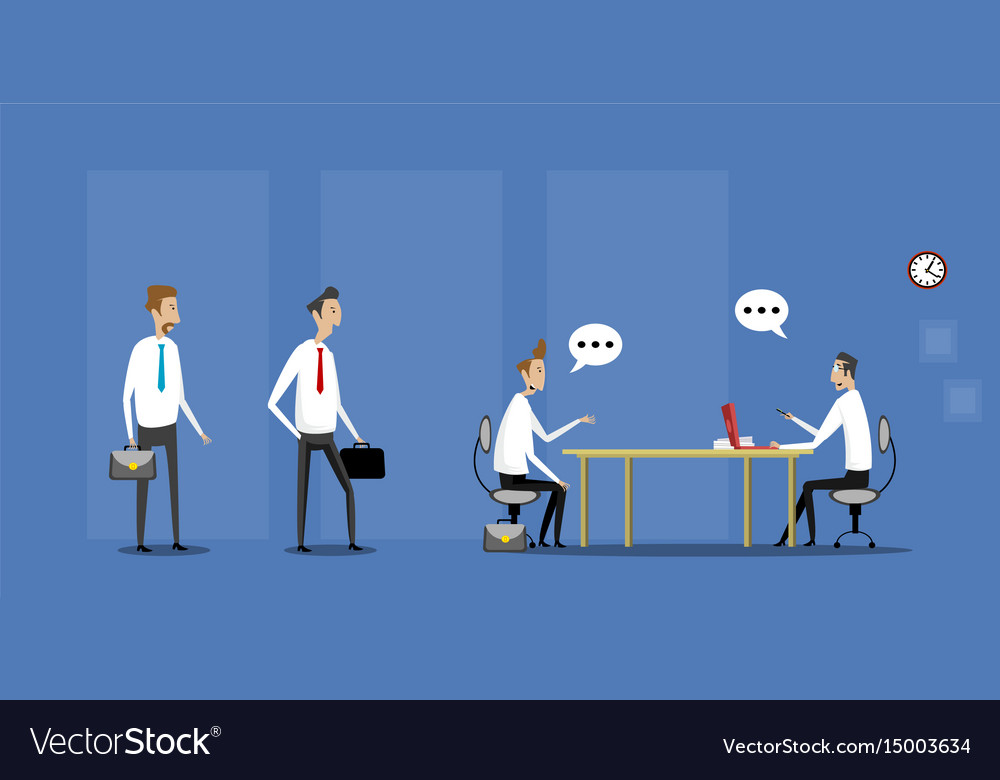 Job interview in office with candidates vector image